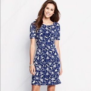 Lands' End Midnight Blue Floral Dress Small